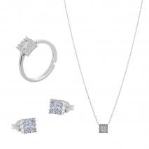 Σετ κοσμημάτων Prince Silvero (κολιέ, σκουλαρίκια και δαχτυλίδι) από επιπλατινωμένο ασήμι 925ο με ημιπολύτιμες πέτρες (ζιργκόν). JD-SE172-SET