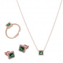 Σετ κοσμημάτων Prince Silvero (κολιέ, σκουλαρίκια και δαχτυλίδι) από ροζ επιχρυσωμένο ασήμι 925ο με ημιπολύτιμες πέτρες (ζιργκόν). JD-SE172G-R-SET