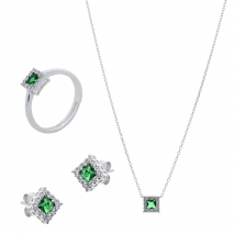 Σετ κοσμημάτων Prince Silvero (κολιέ, σκουλαρίκια και δαχτυλίδι) από επιπλατινωμένο ασήμι 925ο με ημιπολύτιμες πέτρες (ζιργκόν). JD-SE172G-SET