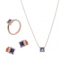 Σετ κοσμημάτων Prince Silvero (κολιέ, σκουλαρίκια και δαχτυλίδι) από ροζ επιχρυσωμένο ασήμι 925ο με ημιπολύτιμες πέτρες (ζιργκόν). JD-SE172M-R-SET