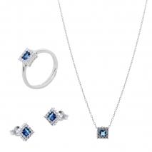 Σετ κοσμημάτων Prince Silvero (κολιέ, σκουλαρίκια και δαχτυλίδι) από επιπλατινωμένο ασήμι 925ο με ημιπολύτιμες πέτρες (ζιργκόν). JD-SE172M-SET