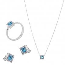 Σετ κοσμημάτων Prince Silvero (κολιέ, σκουλαρίκια και δαχτυλίδι) από επιπλατινωμένο ασήμι 925ο με ημιπολύτιμες πέτρες (ζιργκόν). JD-SE172Q-SET