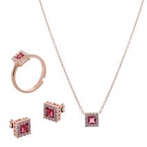 Σετ κοσμημάτων Prince Silvero (κολιέ, σκουλαρίκια και δαχτυλίδι) από ροζ επιχρυσωμένο ασήμι 925ο με ημιπολύτιμες πέτρες (ζιργκόν). JD-SE172R-R-SET