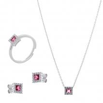 Σετ κοσμημάτων Prince Silvero (κολιέ, σκουλαρίκια και δαχτυλίδι) από επιπλατινωμένο ασήμι 925ο με ημιπολύτιμες πέτρες (ζιργκόν). JD-SE172R-SET