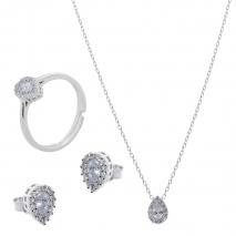 Σετ κοσμημάτων Prince Silvero (κολιέ, σκουλαρίκια και δαχτυλίδι) από επιπλατινωμένο ασήμι 925ο με ημιπολύτιμες πέτρες (ζιργκόν). JD-SE173-SET