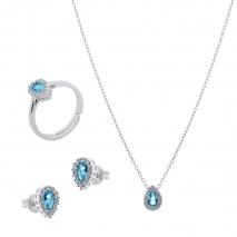 Σετ κοσμημάτων Prince Silvero (κολιέ, σκουλαρίκια και δαχτυλίδι) από επιπλατινωμένο ασήμι 925ο με ημιπολύτιμες πέτρες (ζιργκόν). JD-SE173Q-SET