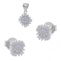 Σετ κοσμημάτων Prince Silvero (μενταγιόν και σκουλαρίκια αστέρι) από επιπλατινωμένο ασήμι 925ο με ημιπολύτιμες πέτρες (ζιργκόν). YF-SE001-SET