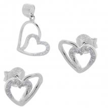 Σετ κοσμημάτων Prince Silvero (μενταγιόν και σκουλαρίκια καρδιά) από επιπλατινωμένο ασήμι 925ο με ημιπολύτιμες πέτρες (ζιργκόν). YF-SE002-SET