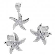 Σετ κοσμημάτων Prince Silvero (μενταγιόν και σκουλαρίκια αστερίας) από επιπλατινωμένο ασήμι 925ο με ημιπολύτιμες πέτρες (ζιργκόν). YF-SE011-SET