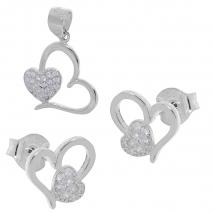 Σετ κοσμημάτων Prince Silvero (μενταγιόν και σκουλαρίκια καρδιά) από επιπλατινωμένο ασήμι 925ο με ημιπολύτιμες πέτρες (ζιργκόν). YF-SE013-SET