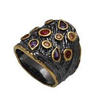 Χειροποίητο ασημένιο δαχτυλίδι Enigma με μαύρη και χρυσή επιμετάλλωση και ημιπολύτιμες πέτρες (ζιργκόν) Enigma-ER-33