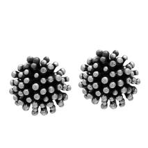 Χειροποίητα ασημένια σκουλαρίκια Enigma με μαύρη και ασημί επιμετάλλωση Enigma-SE-201-M