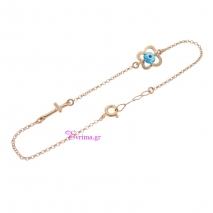 Χειροποίητο βραχιόλι (σταυρός και πεταλούδα) από ροζ επιχρυσωμένο ασήμι 925ο με ημιπολύτιμες πέτρες (Ματάκι). IJ-030153