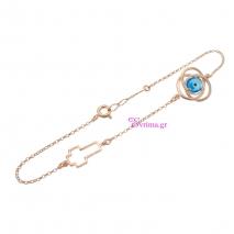 Χειροποίητο βραχιόλι (σταυρός και λουλούδι) από ροζ επιχρυσωμένο ασήμι 925ο με ημιπολύτιμες πέτρες (Ματάκι). IJ-030161