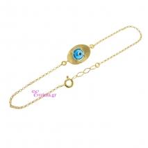 Χειροποίητο βραχιόλι (μάτι) από επιχρυσωμένο ασήμι 925ο με ημιπολύτιμες πέτρες (Ματάκι). IJ-030168