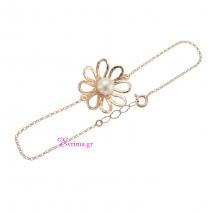 Χειροποίητο βραχιόλι (λουλούδι) από ροζ επιχρυσωμένο ασήμι 925ο με ημιπολύτιμες πέτρες (Πέρλες). IJ-030173