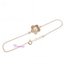 Χειροποίητο βραχιόλι (λουλούδι) από ροζ επιχρυσωμένο ασήμι 925ο με ημιπολύτιμες πέτρες (Πέρλες και Ζιργκόν). IJ-030174