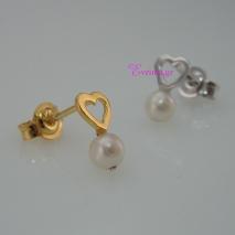 Χειροποίητα σκουλαρίκια (Καρδιά) από επιχρυσωμένο ασήμι 925ο με ημιπολύτιμες πέτρες (Πέρλες). IJ-020338