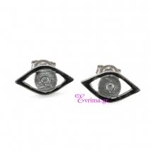 Χειροποίητα σκουλαρίκια (Μάτι) από επιπλατινωμένο ασήμι 925ο με ημιπολύτιμες πέτρες (Ζιργκόν). IJ-020343