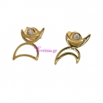 Χειροποίητα σκουλαρίκια από επιχρυσωμένο ασήμι 925ο με ημιπολύτιμες πέτρες (Ζιργκόν). IJ-020344