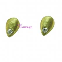 Χειροποίητα σκουλαρίκια (Δάκρυ) από επιχρυσωμένο ασήμι 925ο με ημιπολύτιμες πέτρες (Ζιργκόν). IJ-020345