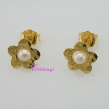 Χειροποίητα σκουλαρίκια (Λουλούδι) από επιχρυσωμένο ασήμι 925ο με ημιπολύτιμες πέτρες (Πέρλες). IJ-020347