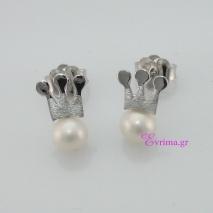 Χειροποίητα σκουλαρίκια (Κορώνα) από επιπλατινωμένο ασήμι 925ο με ημιπολύτιμες πέτρες (Πέρλες). IJ-020348