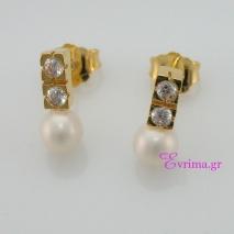 Χειροποίητα σκουλαρίκια από επιχρυσωμένο ασήμι 925ο με ημιπολύτιμες πέτρες (Πέρλες και Ζιργκόν). IJ-020352