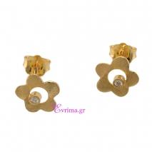 Χειροποίητα σκουλαρίκια (Λουλούδι) από επιχρυσωμένο ασήμι 925ο με ημιπολύτιμες πέτρες (Ζιργκόν). IJ-020356