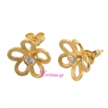 Χειροποίητα σκουλαρίκια (Λουλούδι) από επιχρυσωμένο ασήμι 925ο με ημιπολύτιμες πέτρες (Ζιργκόν). IJ-020373