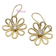 Χειροποίητα σκουλαρίκια (Λουλούδι) από επιχρυσωμένο ασήμι 925ο με ημιπολύτιμες πέτρες (Ζιργκόν). IJ-020384