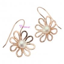 Χειροποίητα σκουλαρίκια (Λουλούδι) από ροζ επιχρυσωμένο ασήμι 925ο με ημιπολύτιμες πέτρες (Πέρλες). IJ-020400