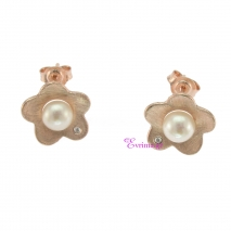 Χειροποίητα σκουλαρίκια (Λουλούδι) από ροζ επιχρυσωμένο ασήμι 925ο με ημιπολύτιμες πέτρες (Πέρλες και Ζιργκόν). IJ-020401