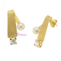 Χειροποίητα σκουλαρίκια από επιχρυσωμένο ασήμι 925ο με ημιπολύτιμες πέτρες (Πέρλες και Ζιργκόν). IJ-020402