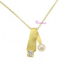 Χειροποίητο κολιέ από επιχρυσωμένο ασήμι 925ο με ημιπολύτιμες πέτρες (Πέρλες και Ζιργκόν). IJ-040054