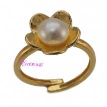 Χειροποίητο δαχτυλίδι (Λουλούδι) από επιχρυσωμένο ασήμι 925ο με ημιπολύτιμες πέτρες (Πέρλες). IJ-010411