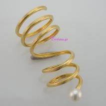 Χειροποίητο δαχτυλίδι (Μακρύ Σπιράλ) από επιχρυσωμένο ασήμι 925ο με ημιπολύτιμες πέτρες (Πέρλες). IJ-010413