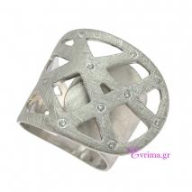 Χειροποίητο δαχτυλίδι από επιπλατινωμένο ασήμι 925ο με ημιπολύτιμες πέτρες (Ζιργκόν). IJ-010416