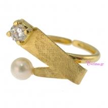 Χειροποίητο δαχτυλίδι από επιχρυσωμένο ασήμι 925ο με ημιπολύτιμες πέτρες (Πέρλες και Ζιργκόν). IJ-010417