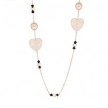 Loisir κολιέ 01L27-00549 καρδιά από ανοξείδωτο ατσάλι (Stainless Steel) με ημιπολύτιμες πέτρες (Κρύσταλλοι Quartz) και Ion Plated Rose Gold