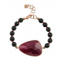 Oxette βραχιόλι 02X05-01536 από ροζ επιχρυσωμένο ασήμι 925ο με ημιπολύτιμες πέτρες (Κρύσταλλοι Quartz).
