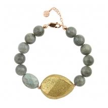 Oxette βραχιόλι 02X05-01549 από ροζ επιχρυσωμένο ασήμι 925ο με ημιπολύτιμες πέτρες (Λαβραδορίτης).