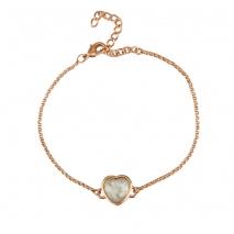 Oxette βραχιόλι 02X15-00019 καρδιά από ροζ ορείχαλκο με ημιπολύτιμες πέτρες (Κρύσταλλοι Quartz).