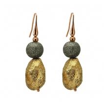 Oxette σκουλαρίκια 03X05-01683 από ροζ επιχρυσωμένο ασήμι 925ο με ημιπολύτιμες πέτρες (Κρύσταλλοι Quartz).