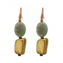 Oxette σκουλαρίκια 03X05-01684 από ροζ επιχρυσωμένο ασήμι 925ο με ημιπολύτιμες πέτρες (Λαβραδορίτης).