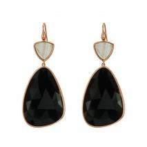 Oxette σκουλαρίκια 03X05-01695 από ροζ επιχρυσωμένο ασήμι 925ο με ημιπολύτιμες πέτρες (Κρύσταλλοι Quartz).