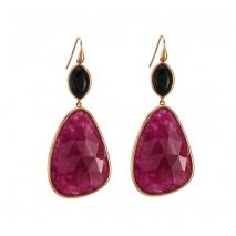 Oxette σκουλαρίκια 03X05-01721 από ροζ επιχρυσωμένο ασήμι 925ο με ημιπολύτιμες πέτρες (Κρύσταλλοι Quartz).