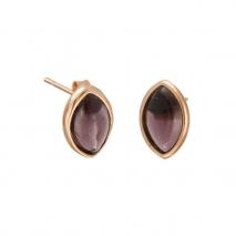 Oxette σκουλαρίκια 03X05-01740 από ροζ επιχρυσωμένο ασήμι 925ο με ημιπολύτιμες πέτρες (Κρύσταλλοι Quartz).