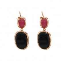 Oxette σκουλαρίκια 03X05-01745 από ροζ επιχρυσωμένο ασήμι 925ο με ημιπολύτιμες πέτρες (Κρύσταλλοι Quartz).