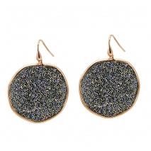 Oxette σκουλαρίκια 03X05-01749 από ροζ επιχρυσωμένο ασήμι 925ο με ημιπολύτιμες πέτρες (Κρύσταλλοι Quartz).